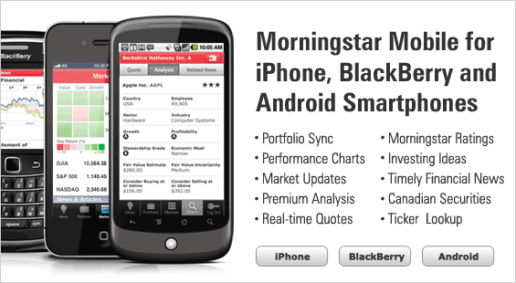 Morningstar Mobile for iPhone, BlackBerry and Android