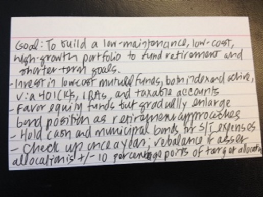 A photograph of Christine Benz's investing strategy handwritten on an index card